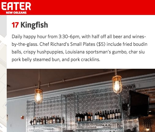 Kingfish Happy Hour, French Quarter Restaurant